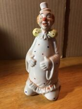 Vintage~Porcelain Fat Clown Bell Figurine With Colorful Poka Dots