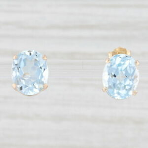 6ctw Blue Topaz Earrings 14k Yellow Gold Oval Solitaire Studs