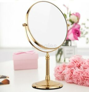 Gold Color 3X Magnifying Make Up Cosmetic Mirror Bathroom Double-Side Mirror