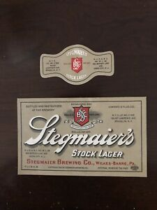 STEGMAIER'S STOCK LAGER BEER LABEL / IRTP / EARLY 1930'S NECK AND BOTTLE