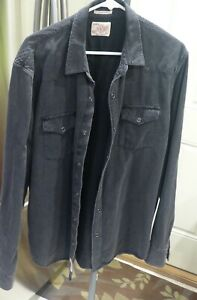 Mens Lucky Brand Denim Western Shirt with Snap Closures-Large-Charcoal