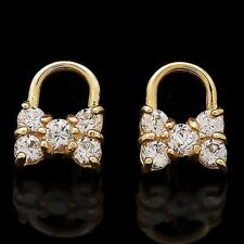 14K Yellow Gold 0.40Ct Brilliant Created Diamond Bowtie Lock Stud Earrings
