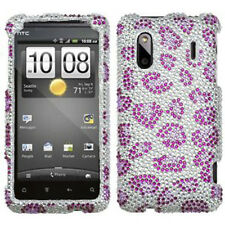 HTC EVO Design 4G Hero S Crystal Diamond BLING Hard Case Cover Purple Cheetah