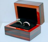 Quality Double Wooden Ring Jewellery Display Gift Box, Wedding, Engagement