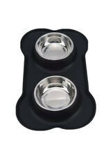 Pet Bowls Stainless Steel Black Feeder with Non Spill Skid Silicone