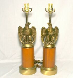 "Brass Golden ""Federal Eagle"" Lamps Pair. MCM Walnut Working Heavy Bald Eagle"