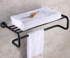 Black Oil Brass Wall Bathroom Towel Rail Holder Storage Rack Shelf Bar qba851