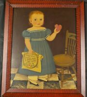 Original Folk Art Painting Girl w/Heart by Diane Ulmer Pedersen Listed