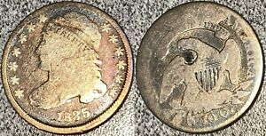1835 Bust Dime. JR-3 with Rarely Seen Reverse Cud