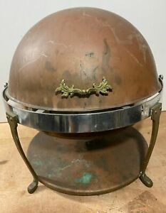 Vintage RARE Copper Over Steel Cloche Chafing Serving Dish