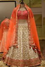 Orange LenghaCholi Indian Party Wear Lehenga Lengha Choli Pakistani Wedding Sari