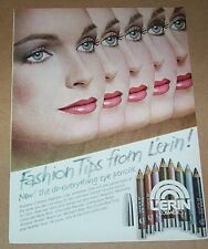 1980 print ad page - L'erin cosmetics SEXY Girl eyes Lerin Vintage Advertising