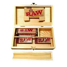 ROLLING TRAY STORAGE STASH BOX +100 RAW SINGLE WIDE PAPERS 100 Tips + RAW Roller