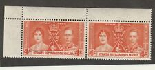 MALAYA STRAITS SETTLEMENTS 1937 GEORGE VI CORONATION 4c VARIETY UM