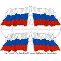 RUSSLAND Russische Föderation Wehende Flagge, 50mm Vinyl Aufkleber x4