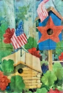 """Red White and Blue Birdhouses Standard House Flag by Toland 28"""" x 40"""", #1356"""