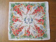 Vintage silk printed handkerchief, Tiger, sword, God, Flowers greetings