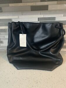 A New Day Black Faux Leather Shoulder Bag with Snap Closure New with Tags