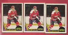 3 X 1987-88 OPC # 68 CAPITALS KEVIN HATCHER   ROOKIE  CARD