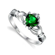 .925 Sterling Silver Ring size 8 CZ Claddagh Heart Emerald Midi Ladies Irish New