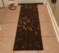 Throw Rug Chocolate Brown Leaves Modern Decorative Indoor Runner Area Accent Mat