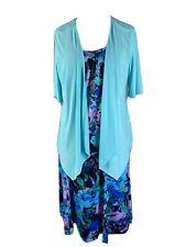 Bon Marche Size 16 Skirt Top Cardigan Set Blue Purple Turquoise Floral Outfit
