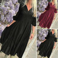 Women Loose Long Sleeve V Neck Solid Ladies Sexy Vintage Dresses Long Maxi Dress