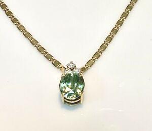 Magnificent Necklace Gold 18 Carat - Aquamarine And Diamonds 0,15 5,92g
