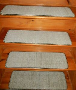 "13  Step  9"" x 30"" Stair Treads 100% Wool  Carpet"