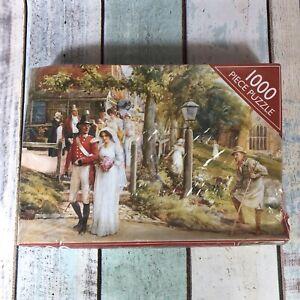 Vintage 1000 piece Jigsaw Puzzle SEALED UNUSED A Village Wedding 1998 - Bad Box.