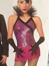 IN STOCK Pink  Purple Hologram Fringed Jazz Tap Dress Dance Costume Adult Small