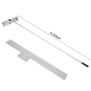 Snow Roof Rake Adjustable 5 to 20 FT Lightweight Aluminum Tube Non-Slip Handle