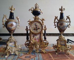 Antico Orologio + 2 Urne in Bronzo Dorato e Ceramica - Francia