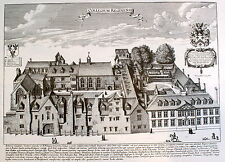 Queen's College Oxford University David Loggan Print Oxonian Illustrata