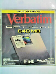 "VERBATIM REWRITABLE 3.5"" 640Mb MAGNETO-OPTICAL DISK - MAC FORMATTED - SEALED"