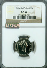 1992 CANADA 5 CENTS NGC MAC SP69 PQ FINEST GRADED SPOTLESS  *