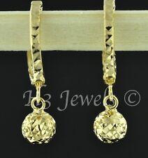18k  solid yellow gold hoop earring earrings diamond cut ball kids cute #634