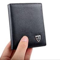 Fashion Men's Cowhide Leather ID Card Holder Mini Wallet Bifold Billfold Purse
