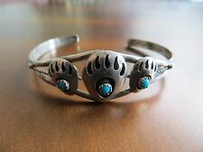 Vintage Native American Sterling Turquoise stones Bear Claw Paw-Cuff Bracelet
