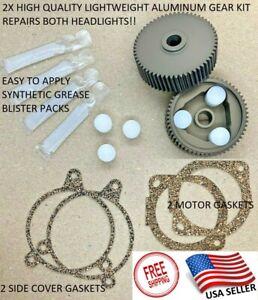 1987-1988 Pontiac Fiero Headlight Motor Repair Kit HD Aluminum Gear Upgrade 2X