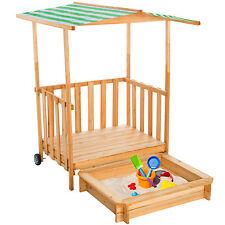 Bac à sable maison pour jouer véranda pour jouer bois protection solaire vert