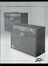 Rare Orig Factory Peavey XXX 112/212 Combo Guitar Tube Amplifier Owner's Manual