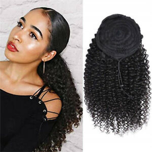 Lady Beauty Drawstring Afro Kinky Curly Ponytail Human Hair Non-Remy Extensions