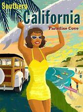 ART PRINT POSTER TRAVEL SOUTHERN CALIFORNIA BEACH SURF SUMMER NOFL1150