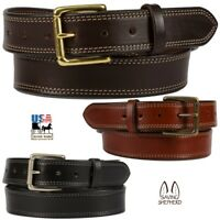 """DOUBLE STITCHED BRIDLE LEATHER BELT - 1½"""" Wide & 10/12 oz Thick Dress Work USA"""