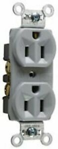 LEGRAND Commercial Grade 15-Amp Duplex Receptacle Outlet - Gray - CRB5262GRY