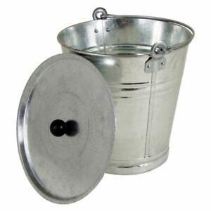 Zinkeimer mit Deckel 12 Liter - Ascheeimer Blech Eimer Pflanzkübel Blumenkübel