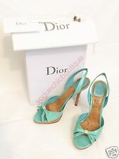 Christian Dior Miss Starlet Bow Leather Slingback Peep Toe Heels Pumps 39 8.5
