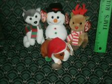 4 Ty Baby Beanies ~ FLAKES, SLEDS, FREEZER, GOODIES ~ MWMT ~ Ornaments~ 2010