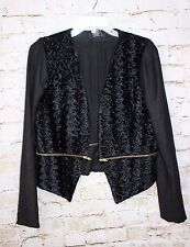 NWT MM Couture by Miss Me Black Woven Jacket with Gold Zipper Sz Large L